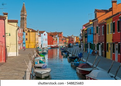 Burano - colorful village at Venice , Italy