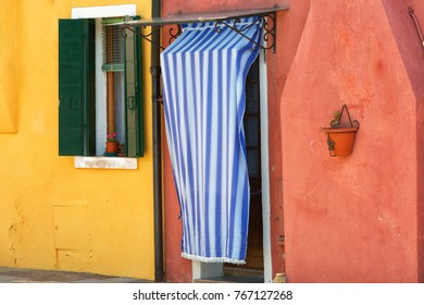 Burano, colorful walls of the houses, Italy