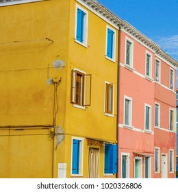 Burano island with traditional colorful houses