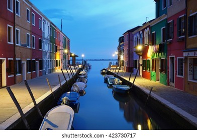 BURANO, ITALY -10 MARCH 2016- Nightime in Burano. Located 4 miles (7 kilometers) from Venice, the island archipelago of Burano in the Venetian lagoon is famous for its charming colorful houses.