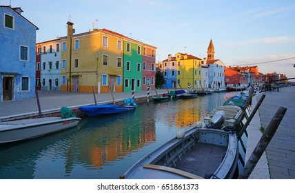 BURANO, ITALY -20 APR 2017- Located 4 miles (7 kilometers) from Venice, the island archipelago of Burano in the Venetian lagoon is famous for its charming colorful houses.