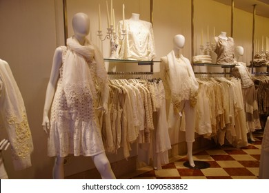 BURANO, ITALY - APR 16, 2018 - Lace dresses and accessories in showroom of Burano Venice, Italy