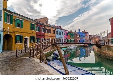 BURANO, ITALY - JANUARY 25, 2016: View of Burano, Italy, an island with colorful architecture in the Venetian Lagoon.
