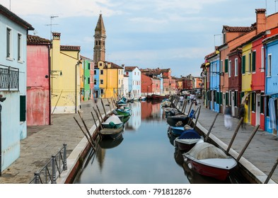 Burano, Italy - June 11 2016: View from a bridge over the main canal