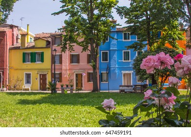 BURANO, ITALY - MAY 23, 2017: Spring on Burano island with picturesque houses