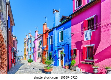 Burano, Italy. View of the colorful houses at the island of Burano near Venice.