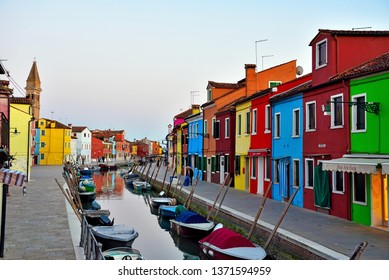 BURANO VENICE ITALY, MARCH 29 the picturesque village is famous for its brightly colored fishermen's houses and the restaurants that serve lagoon fish March 29 2019 Burano Venice Italy