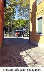 BURANO, VENICE, September 1, 2016: Burano island with traditional colorful houses