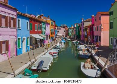 Burano village - Venice Italy - architecture background