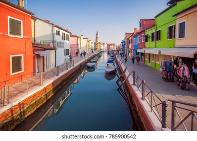 Burano,Italy - 3 November, 2017: famous colorful buildings