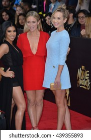 BURBANK, CA. April 9, 2016: Pitch Perfect stars Chrissie Fit (left), Brittany Snow & Kelley Jakle at the 2016 MTV Movie Awards at Warner Bros Studios.