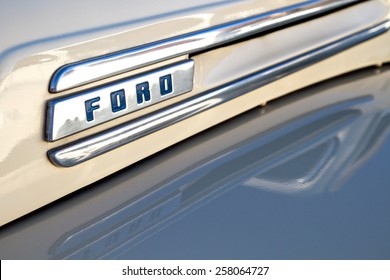 BURBANK, CA - FEBRUARY 20, 2015: Classic 1950 Ford truck chrome hood emblem and trim close up. This was Ford's first generation of trucks based on a truck platform, and not a car chassis.