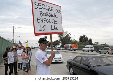 BURBANK, CA  JULY 19, 2014: Protesters demonstrate against illegal immigration and amnesty for undocumented immigrants.