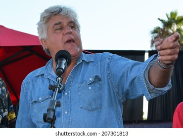 BURBANK, CA - JULY 26, 2014: Former Tonight Show host Jay Leno  thanks the city of Burbank after receiving a Lifetime Achievement Award.