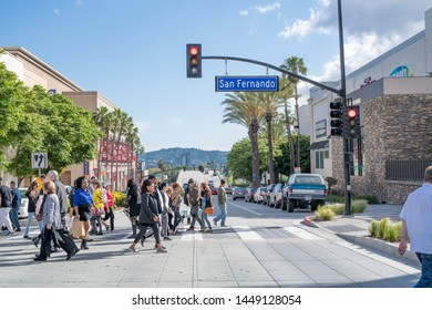 Burbank, CA: May 18, 2019:   Traffic and urban life in the city of Burbank, California.  The population of Burbank, California is 104,834.