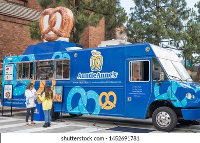 Burbank, CA: May 18, 2019: An Auntie Anne's food truck in Burbank.  Auntie Anne's was founded in 1988.