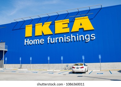 Burbank, CA: May 4, 2018:  Exterior of an Ikea store in Burbank, CA.  The Burbank Ikea is the largest Ikea store in the United States of America.