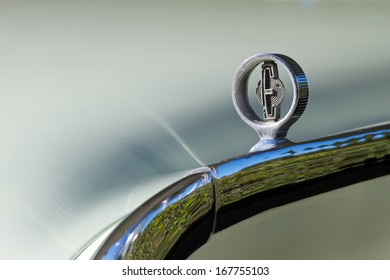 BURBANK, CA - NOVEMBER 11: Chrome fender emblem on a classic 1960 Edsel on November, 11 2013 in Burbank, California. The Edsel brand was developed by Ford to gain market share from GM and Chrysler.
