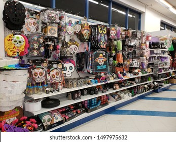 """""""Burbank, CA / USA - August 5, 2019: Colorful assortment Day of the Dead, Halloween party supplies and decorations at 99 Cent Only Store."""""""