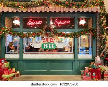 Burbank, CA, USA - November 17, 2019: Warner Bros. Studio tour, central perk cafe decorated for Christmas holiday.