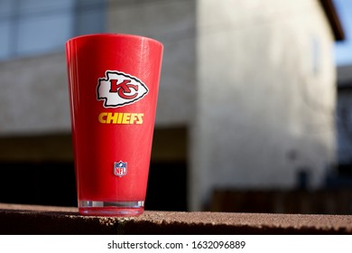 Burbank, California - January 31 2020: A Kansas City Chiefs cup on a ledge. The Chiefs are in the Super Bowl for the first time in 50 years.