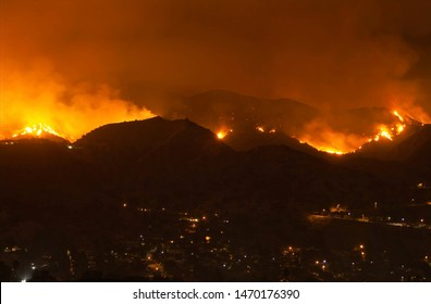 Burbank, California - September 2, 2017: A Wildfire above Burbank, California