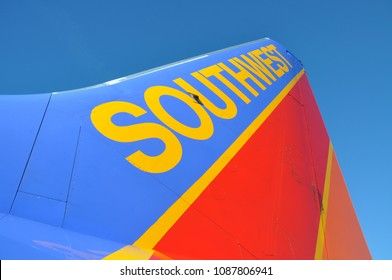 Burbank, California / United States of America - December 8, 2010 : A Southwest Airplane sits on the tarmac (gate) ready for boarding passengers.