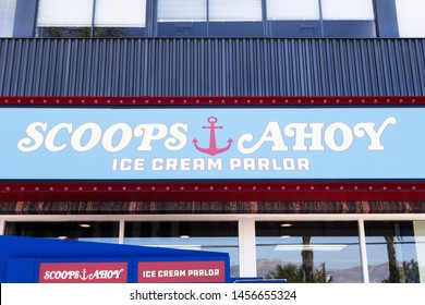 BURBANK, CALIFORNIA, USA - JULY 14, 2019: Netflix Stranger Things Season 3, Scoops Ahoy Pop Up Store at Baskin Robbins on their last day.