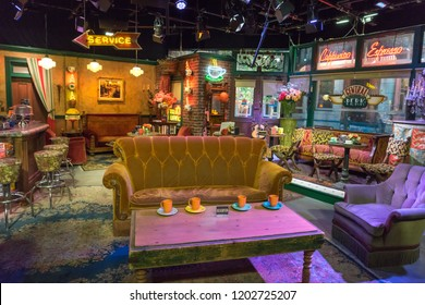 Burbank, California, USA - May 2016: Warner Bros Studio Tour, recreation of the 'Central Perk' set from the tv show Friends