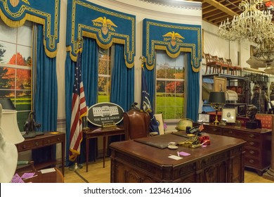 Burbank, California, USA - May 2016: Warner Bros Studio Tour, props and furniture that can be used in the recreation of The White House's Oval Office