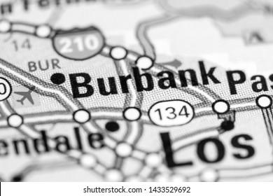 Burbank. California. USA on a map