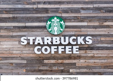 Burbank, CA/USA - March 28, 2016: Starbucks coffee shop sign.  Starbucks is the largest coffeehouse in the world.