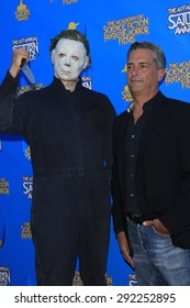 BURBANK - JUN 25: Michael Myers, Cosplayer, Malek Akkad at the 41st Annual Saturn Awards at The Castaway on June 25, 2015 in Burbank, California,