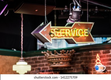 """Burbank / USA - July 2017 , """"service"""" sign on a set of """"Friends"""" TV comedy series (inside Central Perk coffee bar)"""