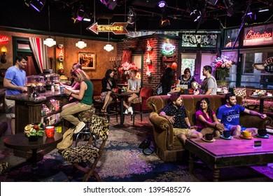 "Burbank / USA - July 2017 , Warner Bros Studios , ""Friends"" TV show set with acting people"