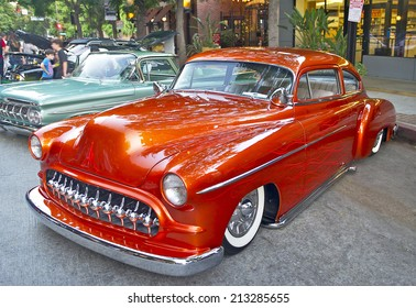 BURBANK/CALIFORNIA - JULY 26, 2014: 1950 Mercury Custom owned by Richard  Valles at the Burbank Car Classic July 26, 2014, Burbank, California USA