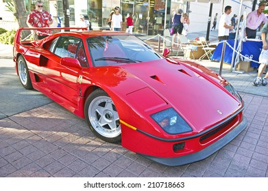 BURBANK/CALIFORNIA - JULY 26, 2014: 1990 Ferrari F40 formerly owned by rock star Rod Stewart on display at the Burbank Car Classic July 26, 2014, Burbank, California USA