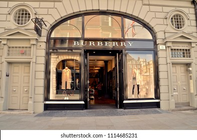 Burberry, famous British brand famous for trench coats and clothes.  Covent Gardens store, London. England UK. jUNE 2018