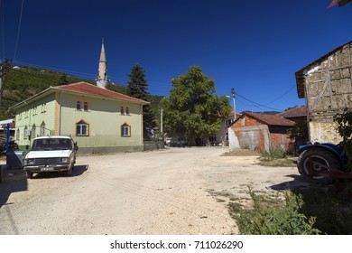 Burcun, Bursa, Turkey - September 1, 2017: Rural village scene and traditional turkish village houses in Burcun village near Yenisehir town in Bursa Province, northwest Anatolia, Turkey.