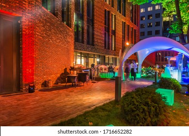 BURDENKO, September 15, 2019: Night party at the back yard of the first class apartment block