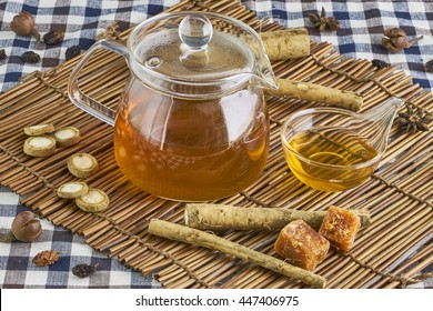 Burdock herbal  tea, healthy medicine and remedy.
