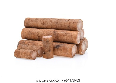 Burdock roots isolated white background.
