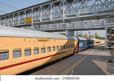 Burdwan Town, West Bengal / India - 08.04.2020: The Railway Department has converted a train coachs into an Isolation Coach for patients with suspected Novel coronavirus. At Burdwan Railway Station.