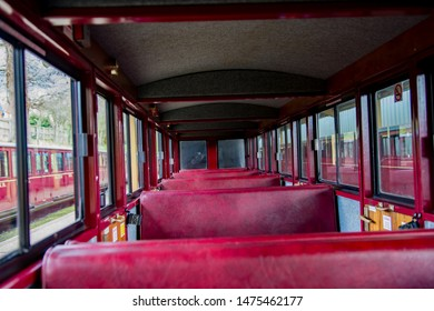 Bure Valley Railway, Norfolk, UK – March 17 2019. The inside of a passenger carriage pulled by steam trains on the Bure Valley Railway in Norfolk, UK.