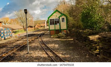Bure Valley Railway, Norfolk, UK – March 17 2019. A signal house and points on the Bure Valley Railway near the train station at Aylsham, Norfolk