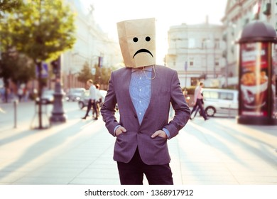 bureaucrat with paper bag on the head