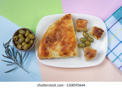 Bureks with cheese - national dish, popular in the Balkans. Flat lay