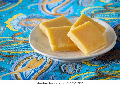 Burfi or Barfi famous Indian sweets. Popular festival food from India. Selective focus.