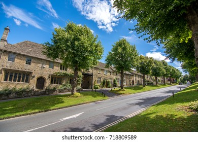 Burford, UK - July 30, 2017: The main street in Burford village on a sunny day