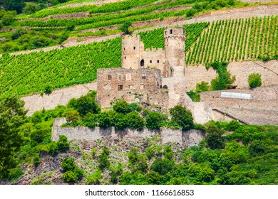 Burg Ehrenfels Castle is a ruined castle above the Rhine river near the Rudesheim am Rhein town in Germany
